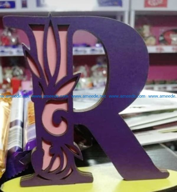 Letter R file cdr and dxf free vector download for laser engraving machines