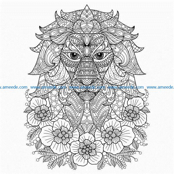 Lions and flowers file cdr and dxf free vector download for laser engraving machines