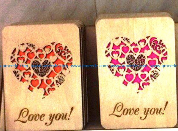 Love you postcards file cdr and dxf free vector download for Laser cut