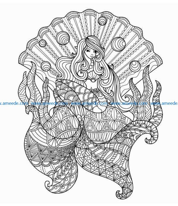 Mermaid in seashells file cdr and dxf free vector download for laser engraving machines