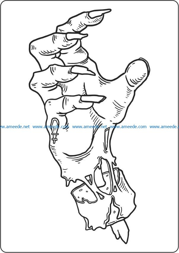 Monster hand file cdr and dxf free vector download for laser engraving machines