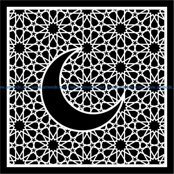 Moon with squares file cdr and dxf free vector download for Laser cut