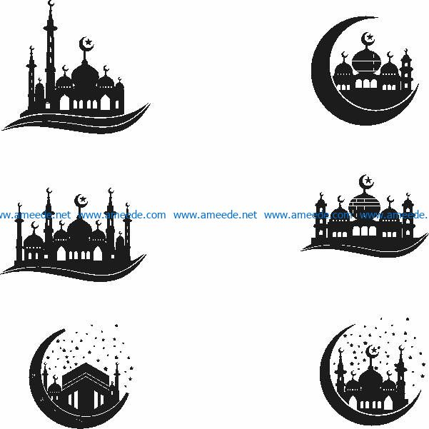 Mosque file cdr and dxf free vector download for laser engraving machines