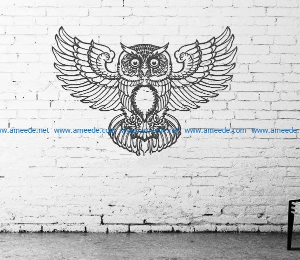 Murals of owls file cdr and dxf free vector download for Laser cut Plasma