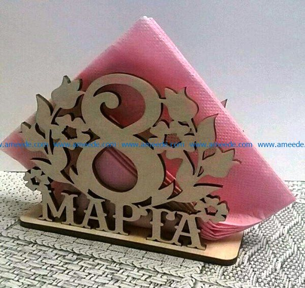 Napkin holder March 8 file cdr and dxf free vector download for Laser cut