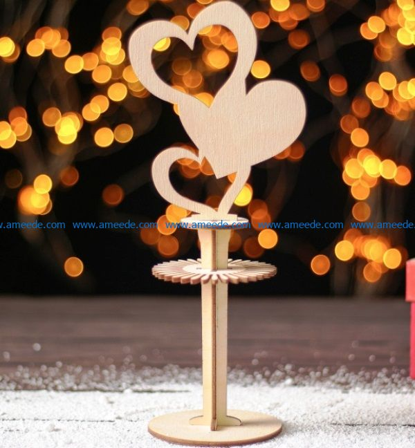 Napkin holder with heart file cdr and dxf free vector download for Laser cut