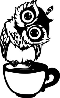 Owl on the cup file cdr and dxf free vector download for Laser cut