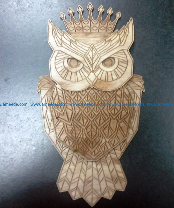 Owl with crown file cdr and dxf free vector download for Laser cut