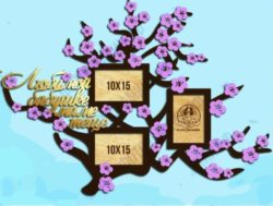 Peach blossom photo frame  file cdr and dxf free vector download for Laser cut