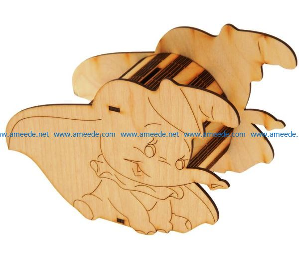 Pencil Elephant box file cdr and dxf free vector download for Laser cut CNC