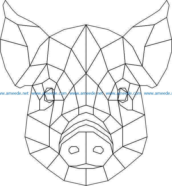Pig head 3d murals file cdr and dxf free vector download for Laser cut Plasma
