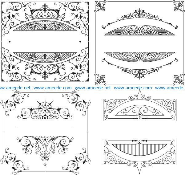 Retro Element file cdr and dxf free vector download for laser engraving machines