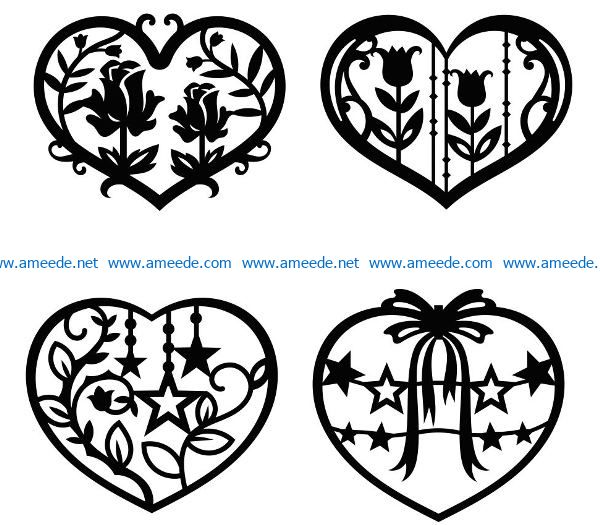 Rose heart file cdr and dxf free vector download for Laser cut