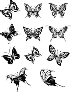 Set of engraved butterflies  file cdr and dxf free vector download for laser engraving machines