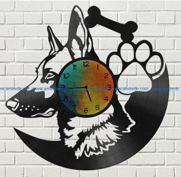 Shepherd dog wall clock file cdr and dxf free vector download for Laser cut