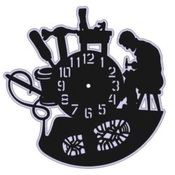 Shoemaker wall clock file cdr and dxf free vector download for Laser cut