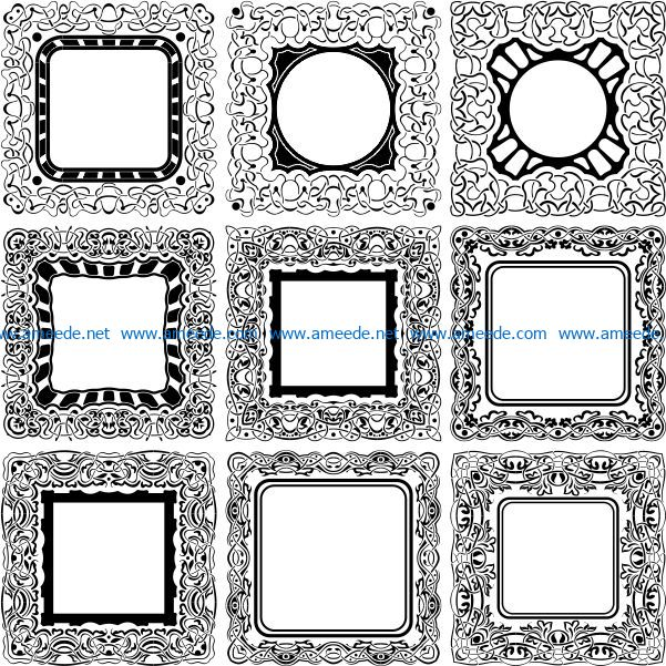 Square decorative designs file cdr and dxf free vector download for laser engraving machines