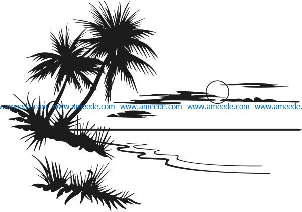 Sunset picture on the sea file cdr and dxf free vector download for Laser cut Plasma
