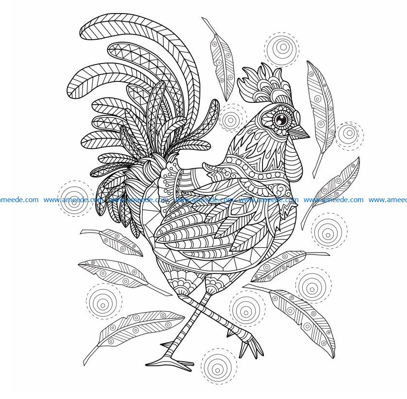 The rooster loses feathers file cdr and dxf free vector download for laser engraving machines