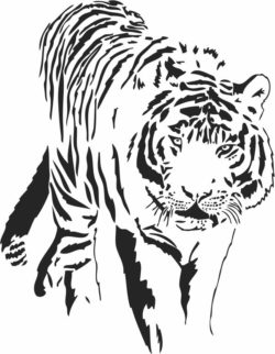 Tiger looking for prey  file cdr and dxf free vector download for laser engraving machines