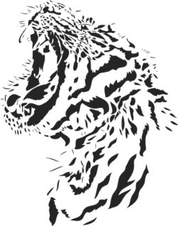 Tiger roar file cdr and dxf free vector download for laser engraving machines