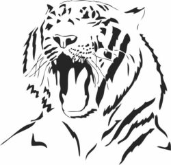 Tiger yawning file cdr and dxf free vector download for laser engraving machines