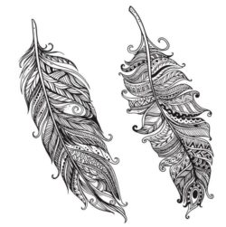 Two feathers file cdr and dxf free vector download for laser engraving machines