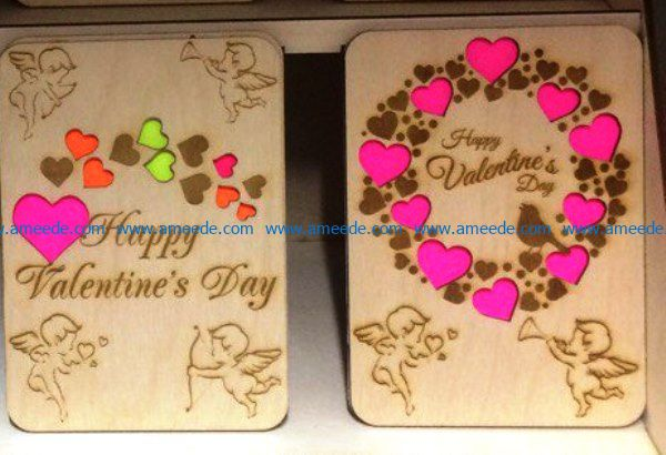 Valentine day postcard file cdr and dxf free vector download for Laser cut
