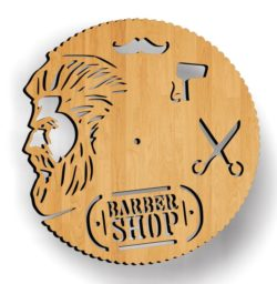 Wall clock decorated hair salon file cdr and dxf free vector download for Laser cut