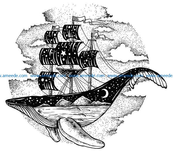 Whale boat file cdr and dxf free vector download for laser engraving machines