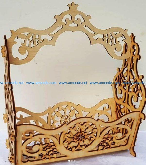 Wooden flower basket file cdr and dxf free vector download for Laser cut