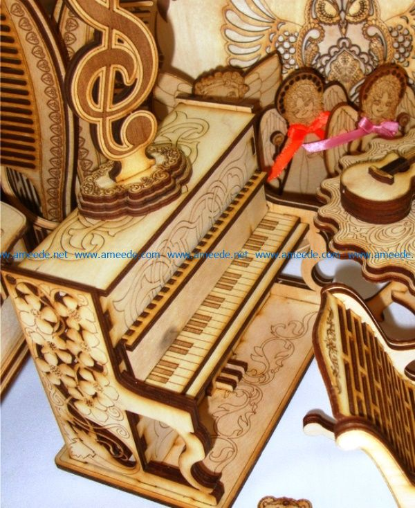 Wooden piano file cdr and dxf free vector download for Laser cut