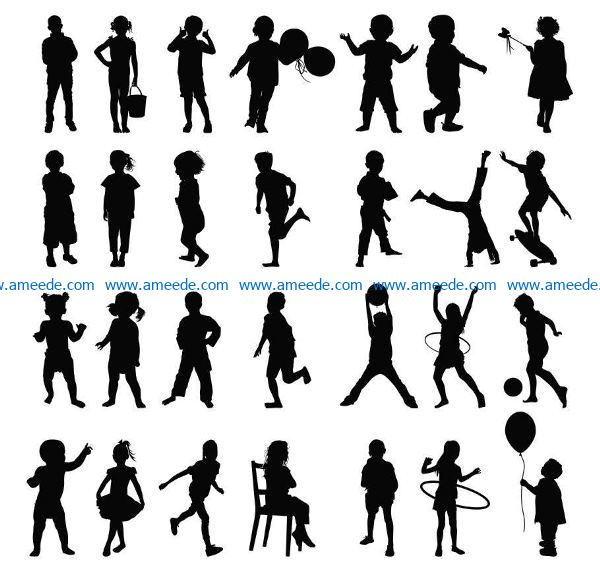 children silhouettes file cdr and dxf free vector download for Laser cut Plasma