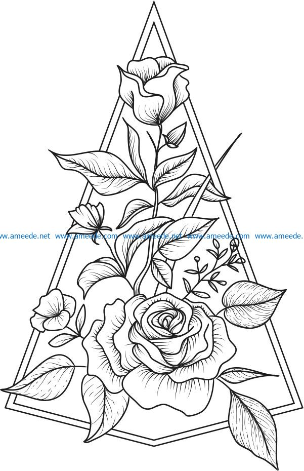 decoration rose file cdr and dxf free vector download for Laser cut