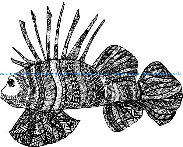 floral fish file cdr and dxf free vector download for laser engraving machines