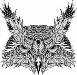 owl face file cdr and dxf free vector download for laser engraving machines