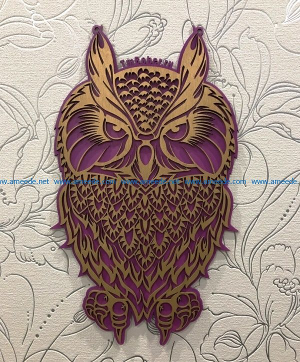 owl file cdr and dxf free vector download for Laser cut