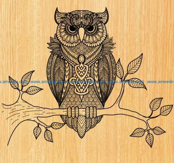 owl perched on a tree branch file cdr and dxf free vector download for laser engraving machines