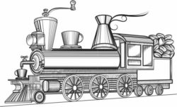 steam locomotive file cdr and dxf free vector download for laser engraving machines