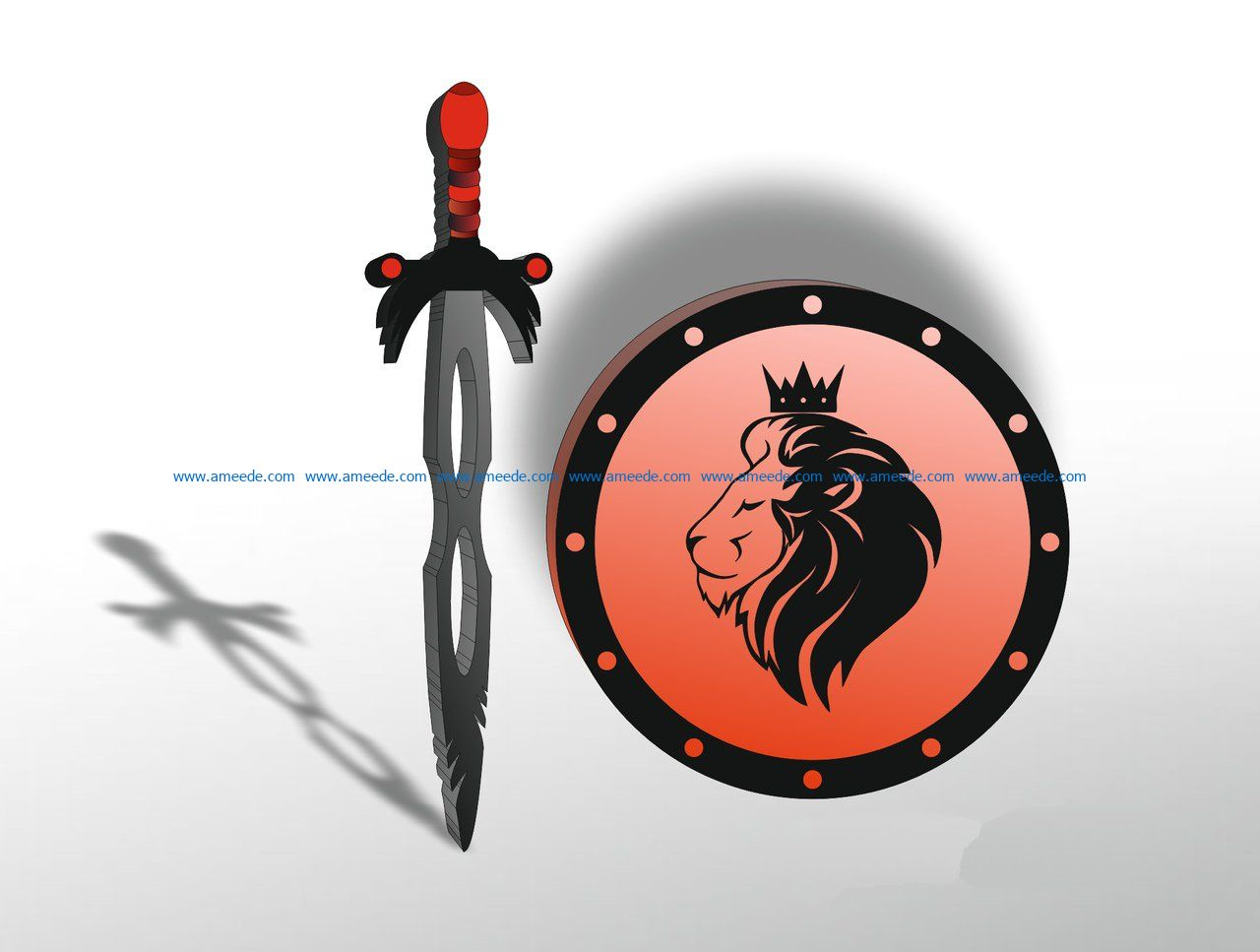 swords and shields file cdr and dxf free vector download for Laser cut