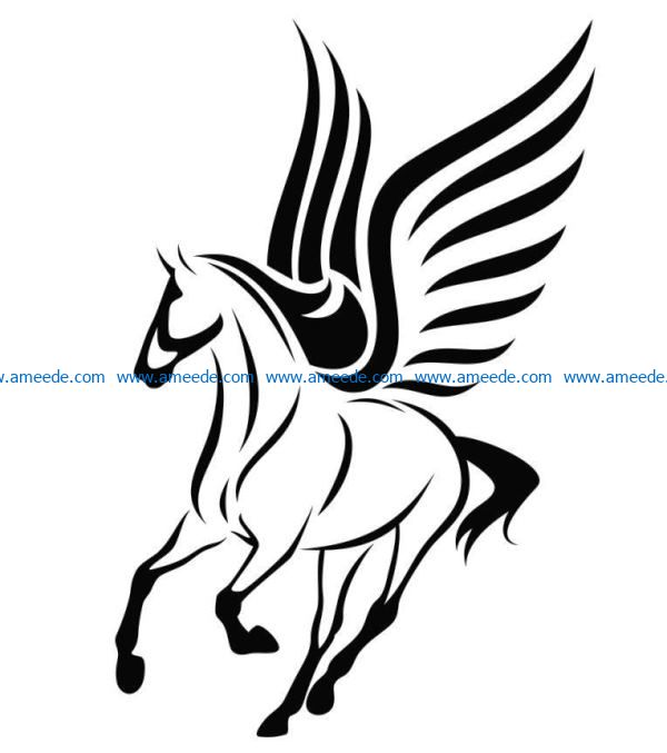 winged horsefile cdr and dxf free vector download for laser engraving machines