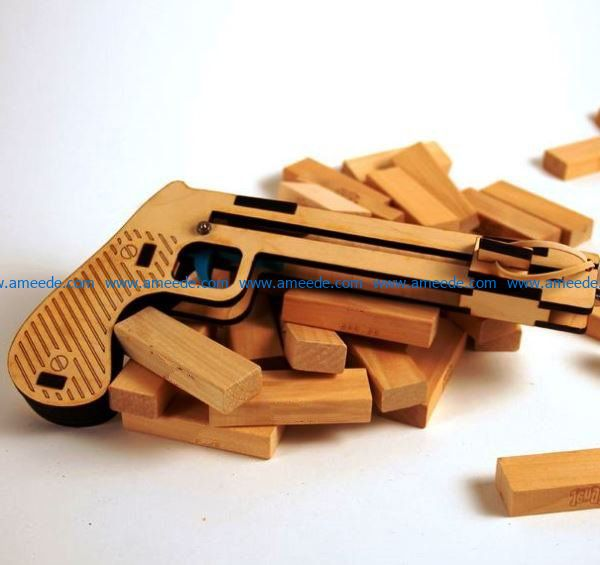wooden pistol file cdr and dxf free vector download for Laser cut
