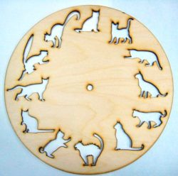 12 cat wall clock file cdr and dxf free vector download for Laser cut