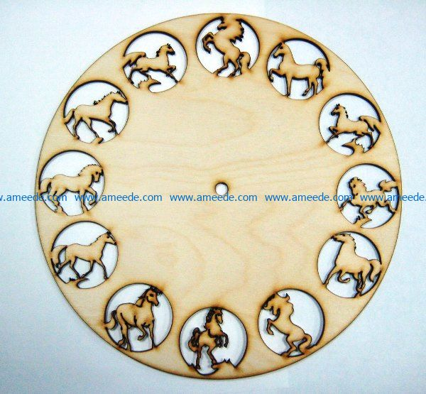 12 horse wall clock file cdr and dxf free vector download for Laser cut