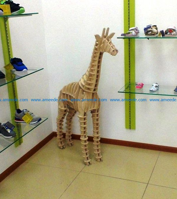 3D Giraffe file cdr and dxf free vector download for Laser cut