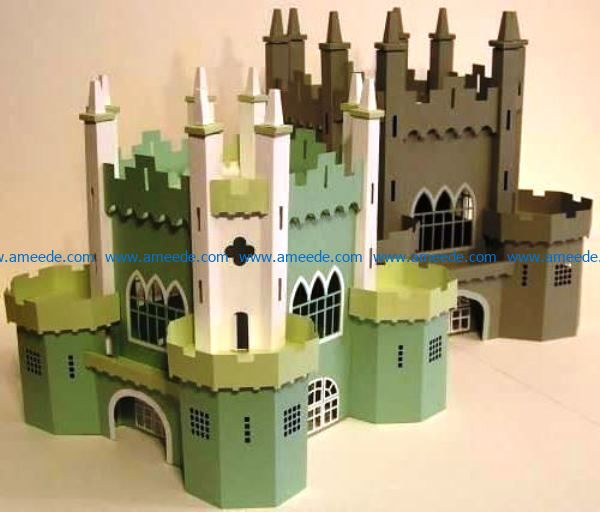 3D big castle file cdr and dxf free vector download for Laser cut
