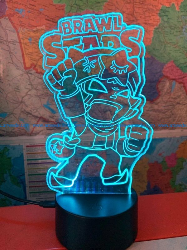 3D illusion led lamp brawls free vector download for laser engraving machines