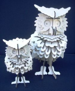 3D puzzle owl file cdr and dxf free vector download for Laser cut