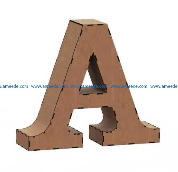 3d letter A file cdr and dxf free vector download for Laser cut