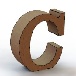 3d letter C file cdr and dxf free vector download for Laser cut
